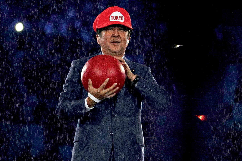 SUPER MARIO -O então primeiro-ministro Abe como o personagem da Nintendo, no Rio: sonho desfeito -