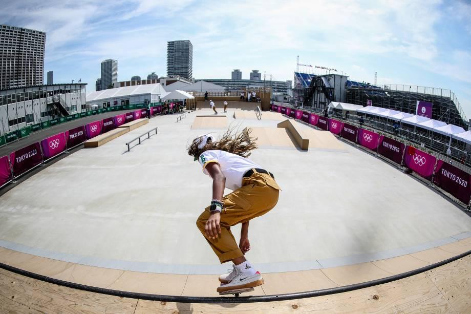 Rayssa Leal durante primeiro treino da equipe brasileira de Skate, em Ariake Urban Sports Park -