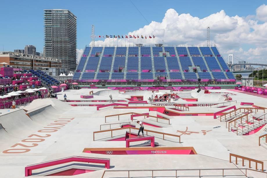 Vista geral do local da competição, o Ariake Sports Park Skateboarding -