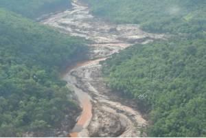 Imagem do desastre Mariana (MG). Região afetada em 2015. Imagem divulgada pela Fundação Renova antes de trabalhos de reflorestamento