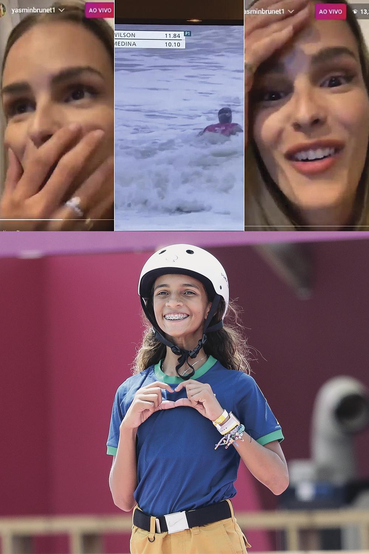 INFANTIS -Nas redes: Yasmin Brunet (acima) culpa jurados por derrota do marido, Gabriel Medina, e Rayssa Leal (abaixo) é aclamada como ídolo aos 13 anos -