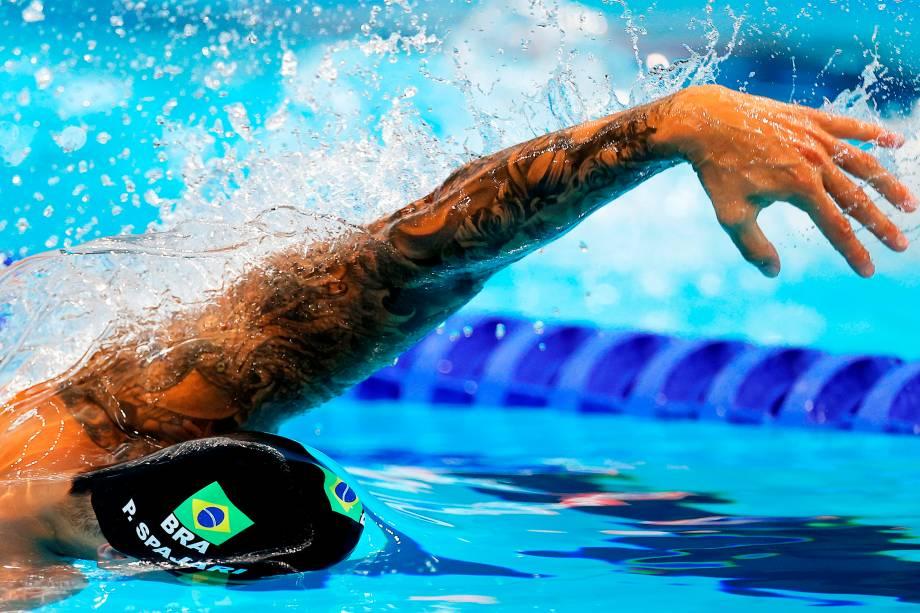 Pedro Spajari, do Brasil, na prova dos 100m livres -