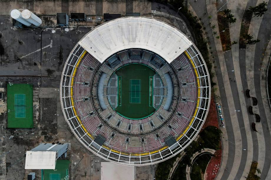 Vista de drone do Pavilhão de Tênis, atualmente, no Rio Janeiro -