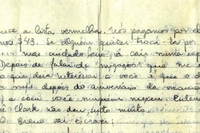 Trecho da carta: a mensagem cifrada tinha a chave do alívio depois de sair do Brasil