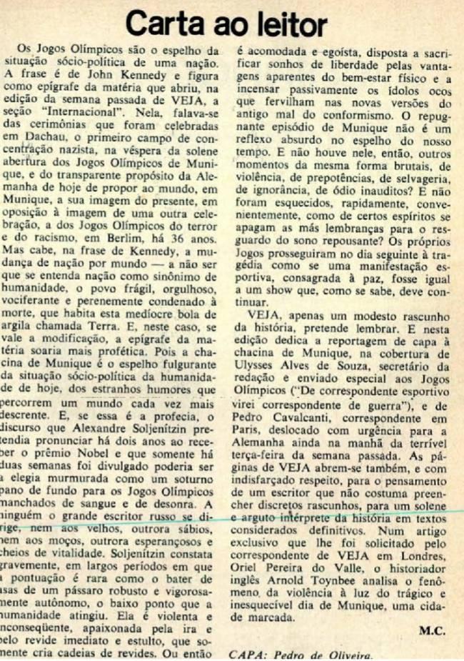 Carta ao leitor de 1972