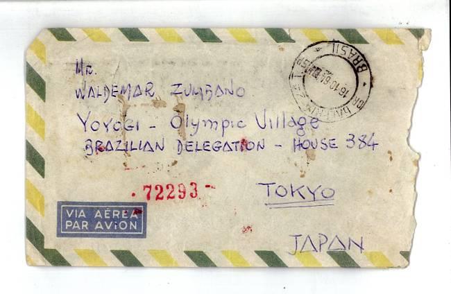 O envelope de uma das cartas recebidas em Tóquio: o mundo do consumo mudava aceleradamente