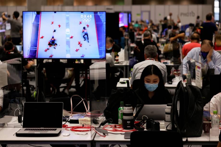 Jornalistas no centro de imprensa dos Jogos Olímpicos -