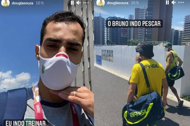 Douglas brinca com o levantador Bruninho na Vila Olímpica