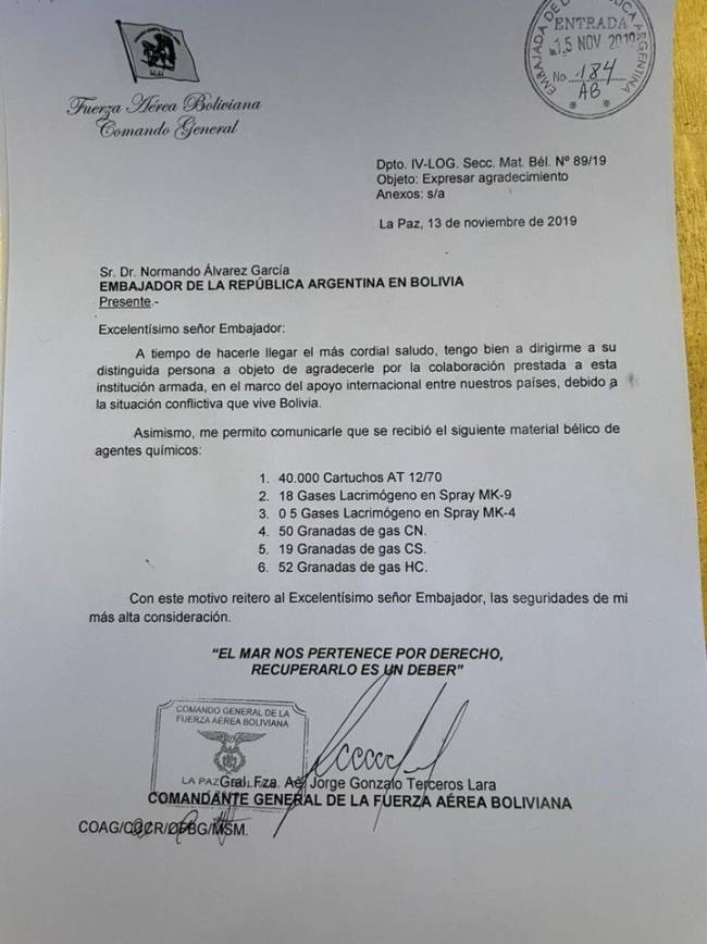 Carta apresentada por autoridades bolivianas para denunciar colaboração do ex-presidente argentino Mauricio Macri na destituição de Evo Morales.