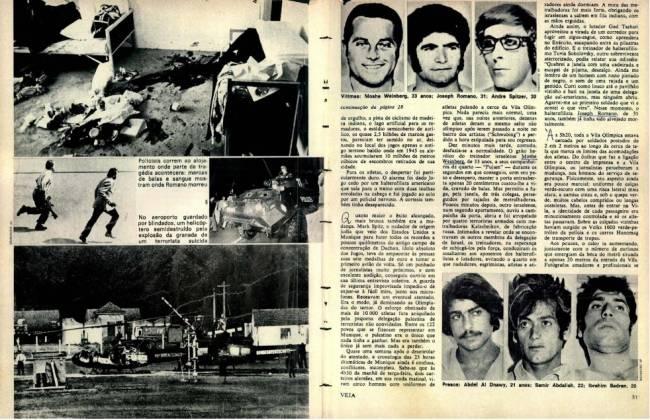 Trecho da matéria sobre a tragédia de Munique, em 1972