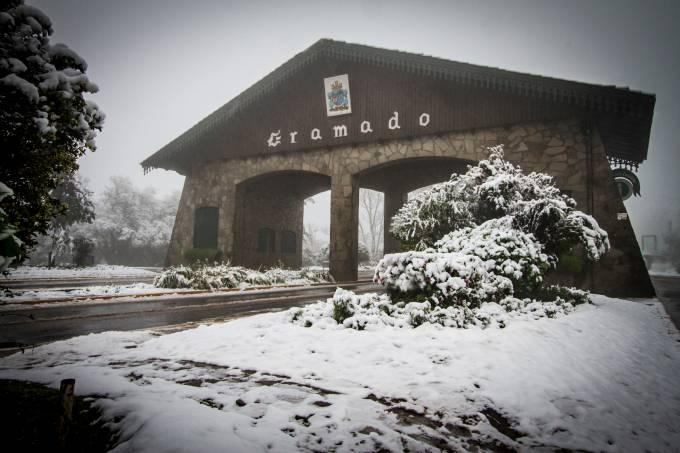 Neve em Gramado, na Serra Gaúcha