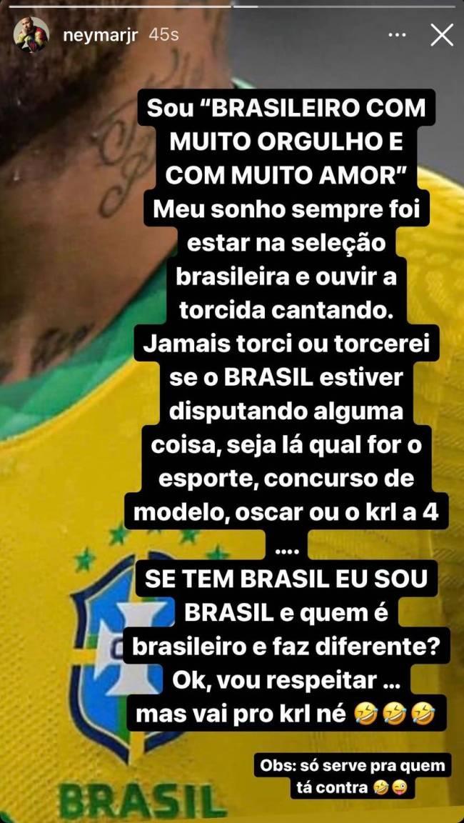 Post de Neymar sobre brasileiros que torcem contra