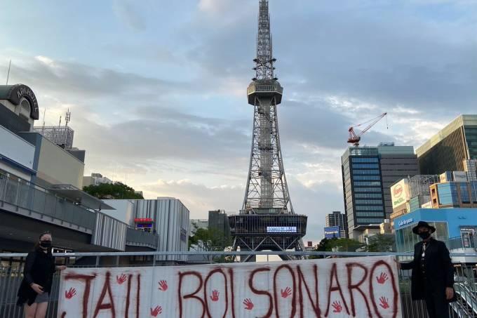 protesto contra Jair Bolsonaro em Tóquio