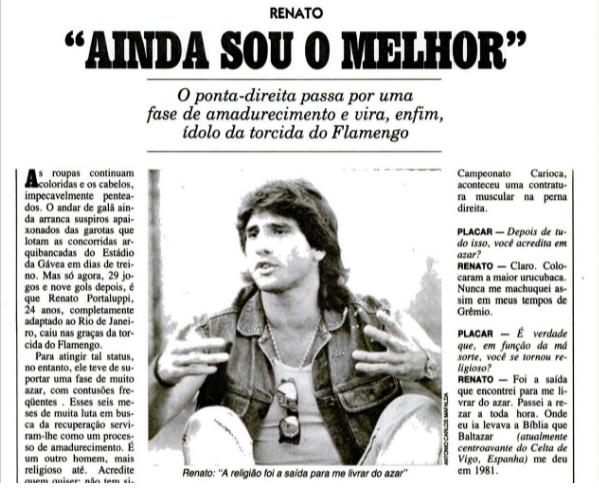 Renato Gaúcho em entrevista a PLACAR em 1987