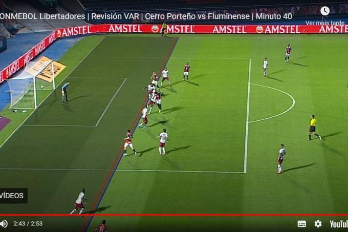 Erro do VAR no gol do Cerro Porteçno diante do Fluminense