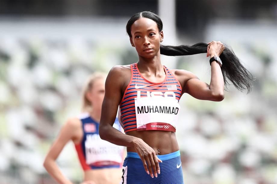 Dalilah Muhammad, dos Estados Unidos, vence prova dos 400m com barreira -