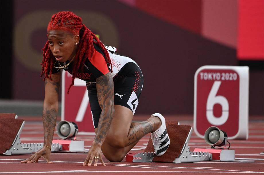 Michelle-Lee Ahye, de Trinidad e Tobago, na semifinal dos 100m -