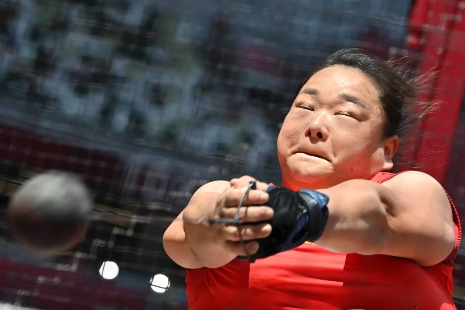 Wang Zheng, da China, durante prova de lançamento de martelo -