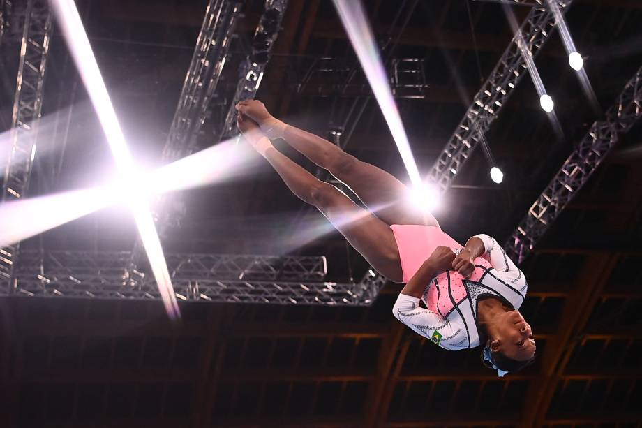 A ginasta brasileira Rebeca Andrade -