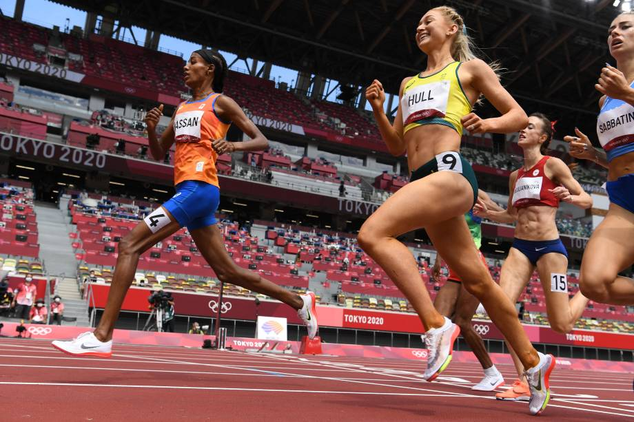 A holandesa Sifan Hassan durante prova dos 1500m no atletismo -