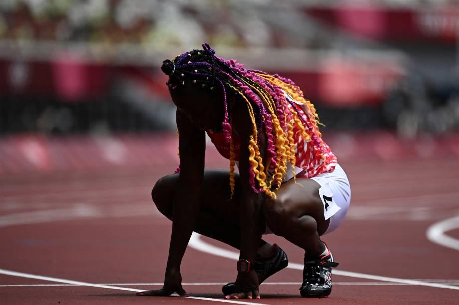 Lucia Moris, do Sudão do Sul,  sofre lesão na prova dos 200m -