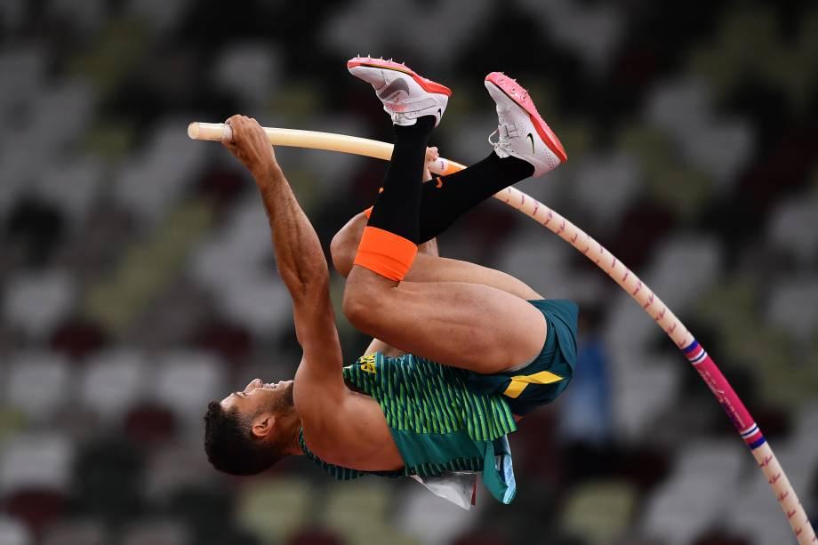 O brasileiro Thiago Braz durante a final do salto com vara -