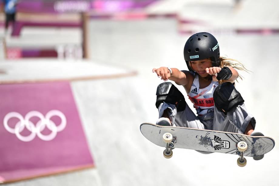 Sky Brown, da Grã-Bretanha, na final do skate -