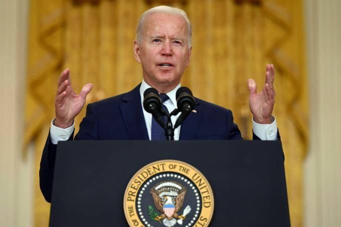 Joe Biden, presidente dos Estados Unidos, faz discurso na Casa Branca sobre os ataques em Cabul que deixaram dezenas de mortos, incluindo militares americanos