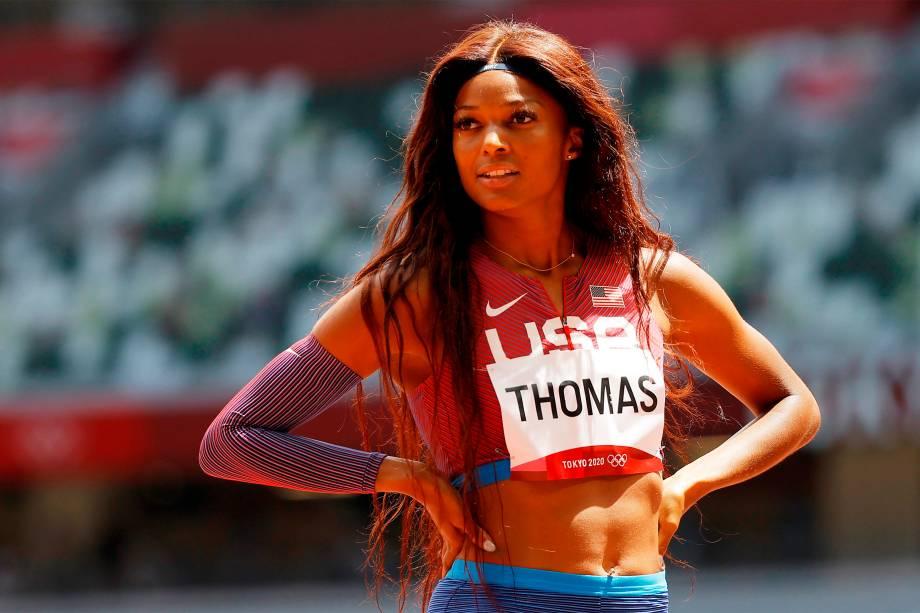Gabrielle Thomas, dos Estados Unidos, após a prova dos 200m -
