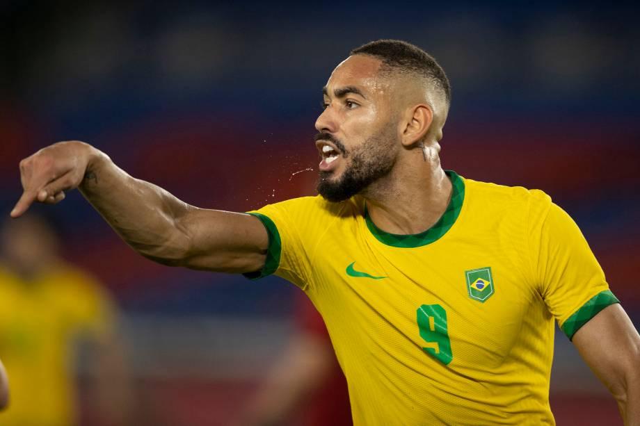 Matheus Cunha durante a partida contra a Espanha -