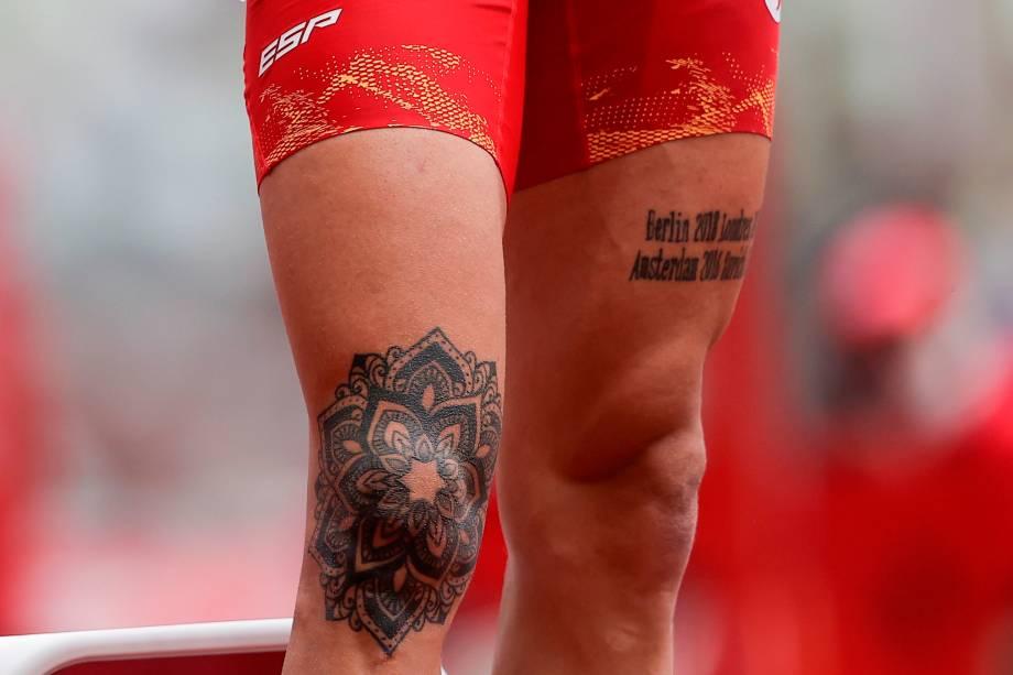 Sergio Fernández, da Espanha, durante prova dos 400m com barreiras no atletismo -