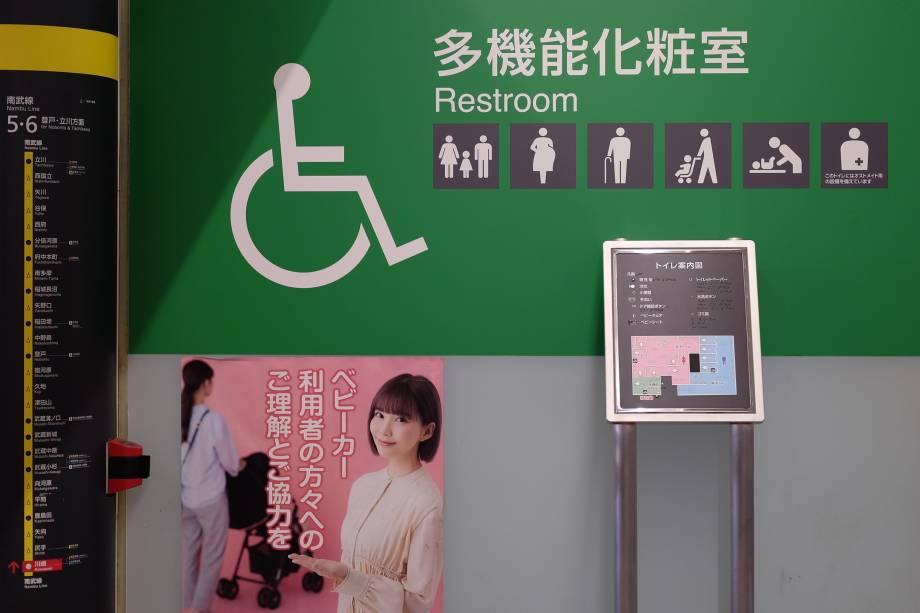 Banheiros - acessibilidade, trocador para crianças, pessoas ostomizadas -