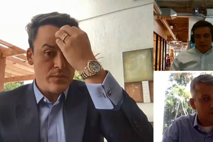 Depoimento do ex-diretor de Logística do Ministério da Saúde Roberto Ferreira Dias (no canto interior, à direita) à Polícia Federal, por videoconferência