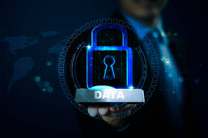 Data protection privacy concept. Cyber security network
