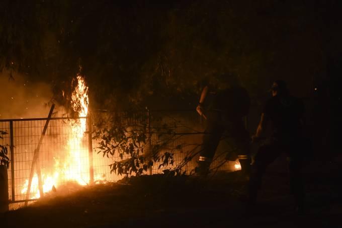 Forest fire erupts in NE of Attica region, Greece