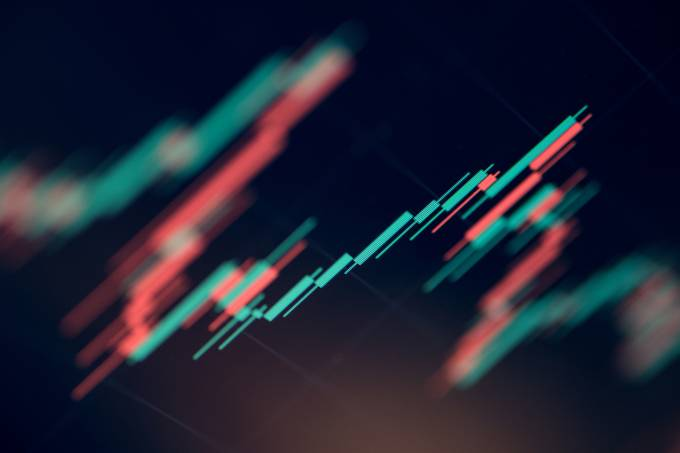 Close up shot of a stock market graphic chart.