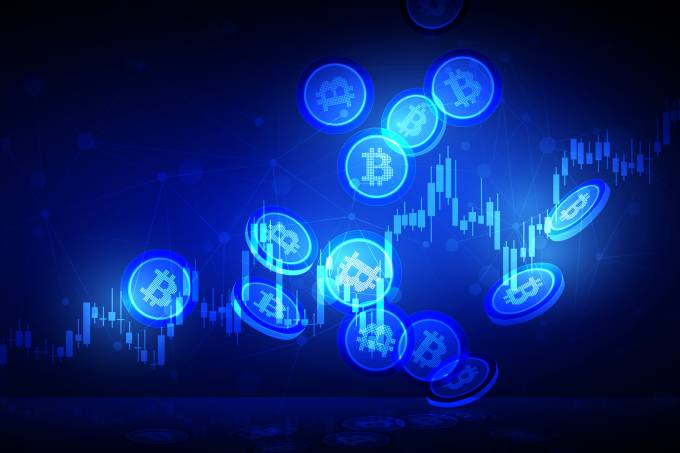 Cryptocurrency illustration concept shows the Bitcoin dropping down to the fall with the growth sign of graph on the blue shiny abstract background.