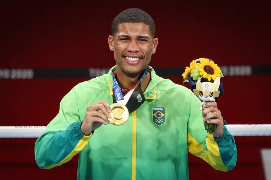 Hebert Conceição, do Brazil, após ganhar o ouro no boxe