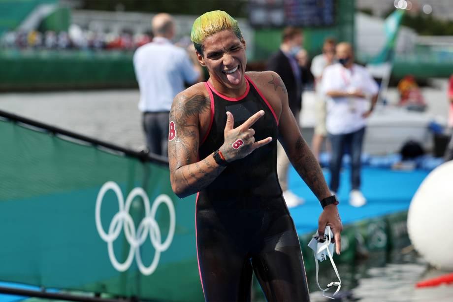Ana Marcela Cunha após prova de maratonas aquáticas -