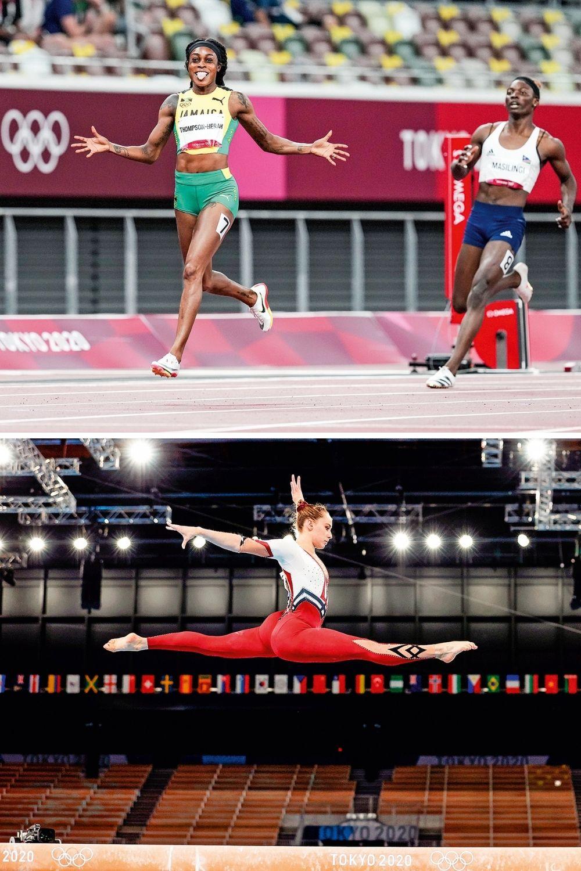 NOVA ERA- A jamaicana Elaine Thompson (à esq.), que pode igualar sua marca à de Bolt, e a ginasta alemã com calça comprida: elas fizeram a diferença em Tóquio -