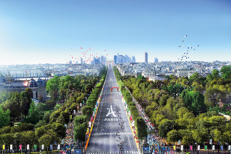 NO CHÃO -Projeção da Avenida Champs-Élysées, a mais famosa da cidade: o lugar deverá receber provas de ciclismo -
