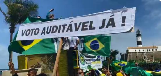 Ato de apoiadores do presidente Jair Bolsonaro em favor do voto impresso
