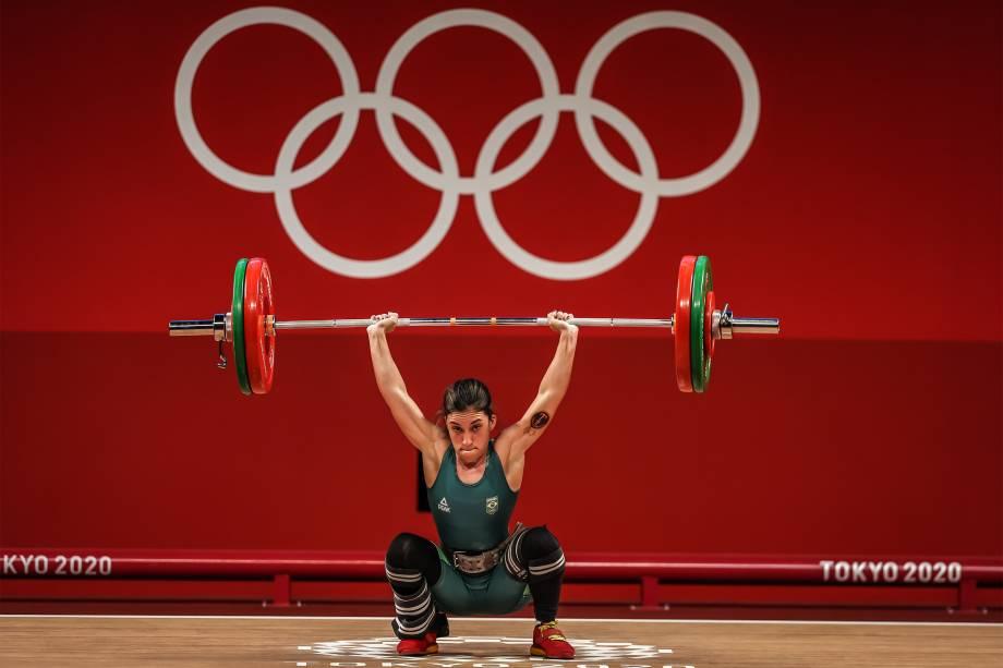 A atleta brasileira Nathasha Rosa na disputa do levantamento de pesos -