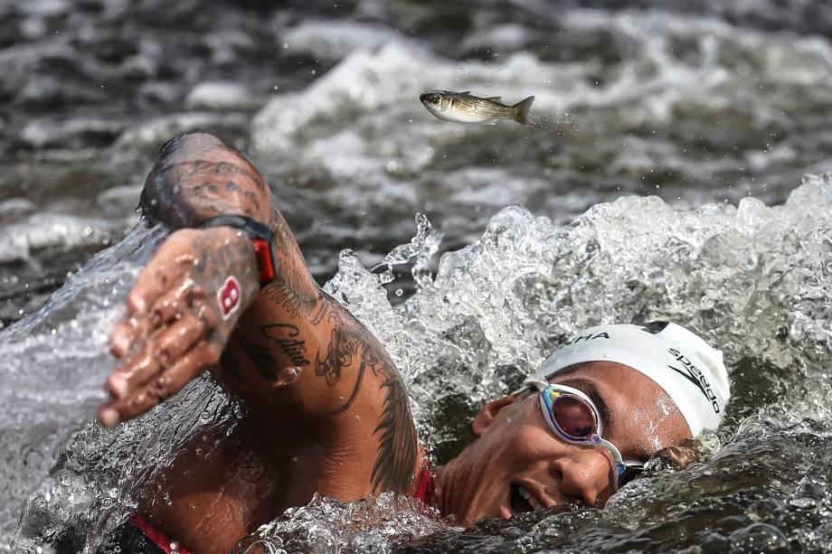 A atleta Ana Marcela Cunha vencedora da prova de maratonas aquáticas -