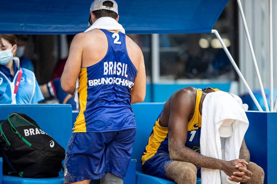 A dupla brasileira Evando e Bruno do vôlei de praia -
