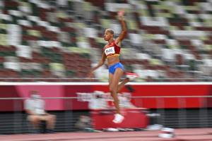 Venezuela's Yulimar Rojas competes in the women's triple jump final during the Tokyo 2020 Olympic Games at the Olympic Stadium in Tokyo on August 1, 2021. (Photo by Andrej ISAKOVIC / AFP)