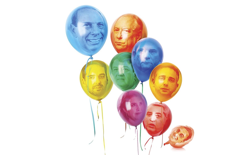 BALÕES DE ENSAIO - Os nomes testados pelos partidos como alternativas à polarização: o governador João Doria (PSDB), o ex-ministro Ciro Gomes (PDT), o governador Eduardo Leite (PSDB), o ex-ministro Mandetta (DEM), o ex-juiz Sergio Moro (Podemos), a senadora Simone Tebet (MDB), o senador Rodrigo Pacheco (DEM), o apresentador José Luiz Datena (PSL) e o apresentador Luciano Huck, que já desistiu -