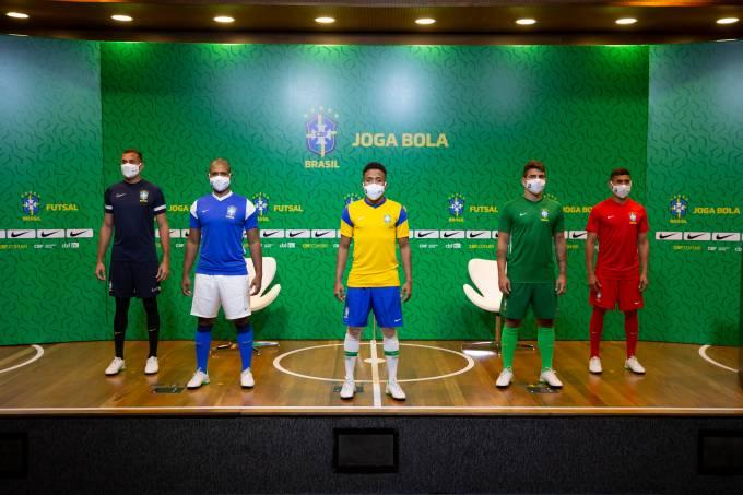 Os novos uniformes da seleção brasileira de futsal