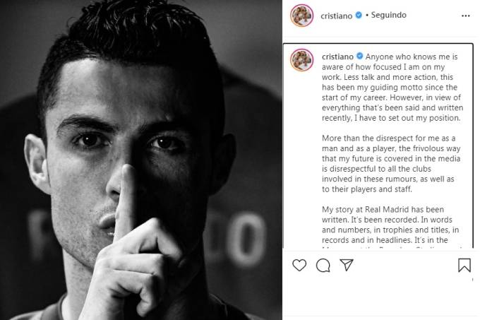 Cristiano Ronaldo desabafa nas redes sociais