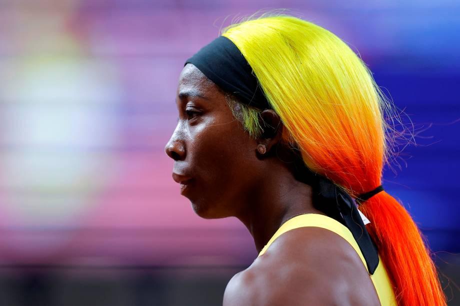 Shelly-Ann Fraser-Pryce, da Jamaica, após a semifinal dos 100m